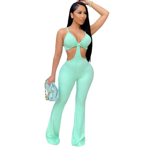 Green Nightclub sexy eye-net jumpsuit stretch slim fit flared jumpsuit