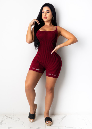 Red wine Embroidered letters stretch thread suspender shorts