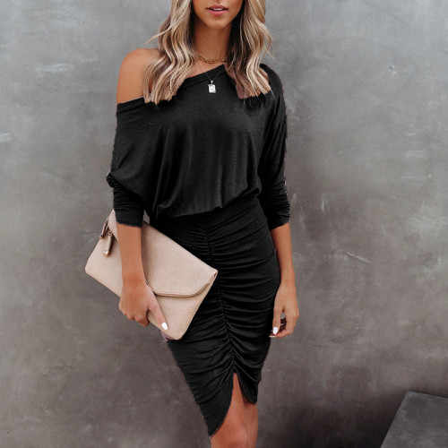 Black 2021 new long-sleeved round neck bag hip fold sexy irregular dress women