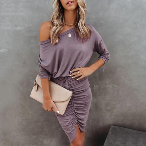 Purple 2021 new long-sleeved round neck bag hip fold sexy irregular dress women