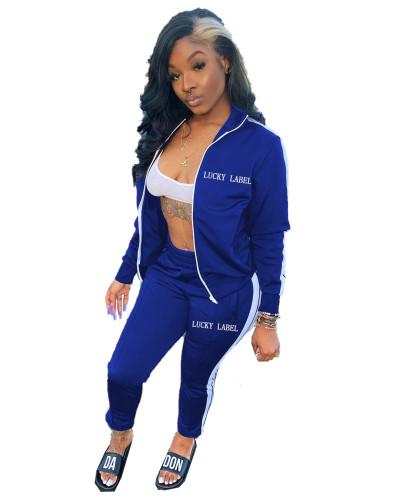 Bule Letter embroidery zipper sports two-piece suit