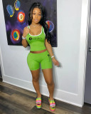 Green Fashion summer women's sports two-piece suit