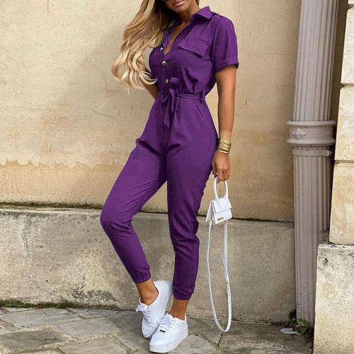 Purple Women's casual lapel print belt overalls