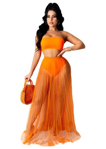 Orange New European and American sexy mesh see-through beach skirt half skirt women's clothing