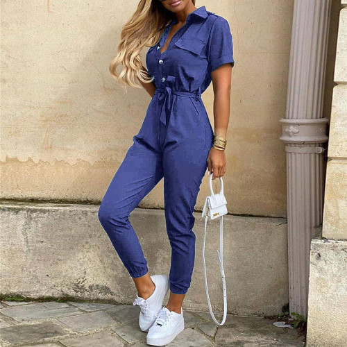 Blue Women's casual lapel print belt overalls