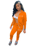 Letter embroidery zipper sports two-piece suit