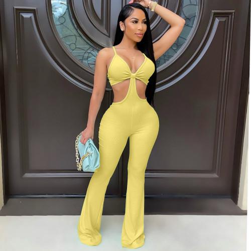 Yellow Nightclub sexy eye-net jumpsuit stretch slim fit flared jumpsuit
