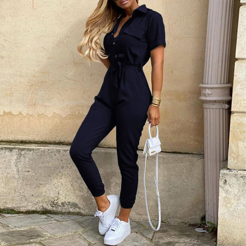 Dark blue Women's casual lapel print belt overalls