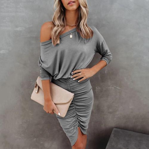 Gray 2021 new long-sleeved round neck bag hip fold sexy irregular dress women