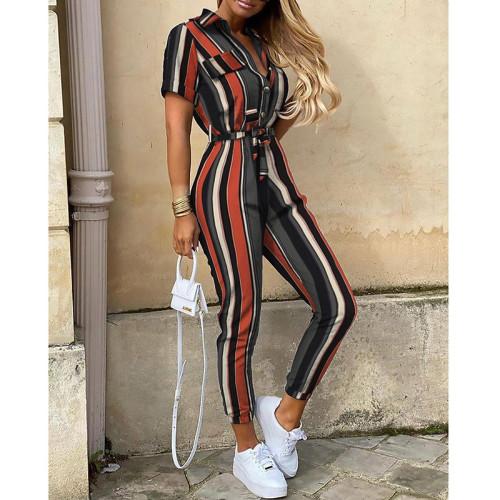 Color Women's casual lapel print belt overalls