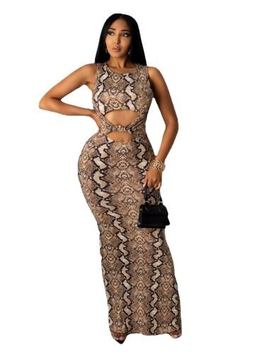 Serpentine Stretch snake print leopard print dress