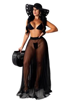 Black New European and American sexy mesh see-through beach skirt half skirt women's clothing