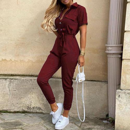 Red wine Women's casual lapel print belt overalls