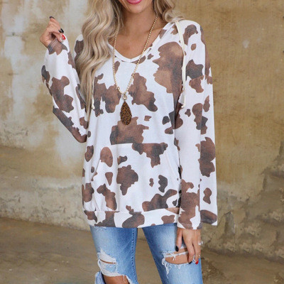 White European and American printed long-sleeved loose casual all-match blouse T-shirt women