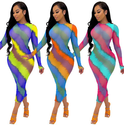 Blue multicolor New style women's clothing see-through wood ear print color slim fit jumpsuit