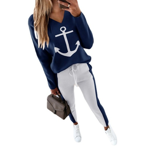 Dark blue European and American women's anchor printed long-sleeved V-neck fashion casual suit