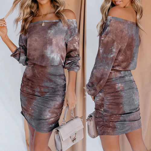 Photo Color Women's European and American Printed One-line Neck Long Sleeve Sexy Wrapped Hip Ruffle Dress