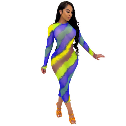 Royal blue multicolor New style women's clothing see-through wood ear print color slim fit jumpsuit