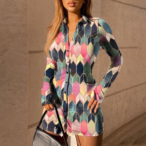 Flower type four European and American women's printed long-sleeved lapel slim cardigan shirt