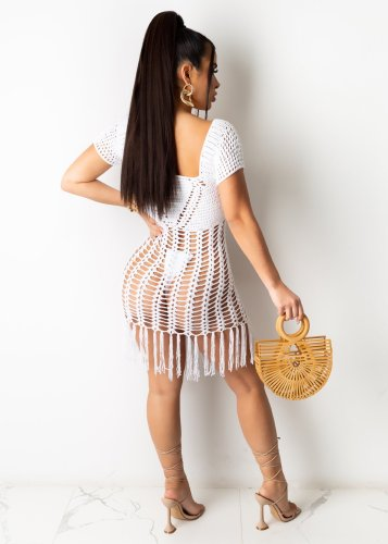 White Long fringed beach skirt with fringed front and back woven in Europe and America