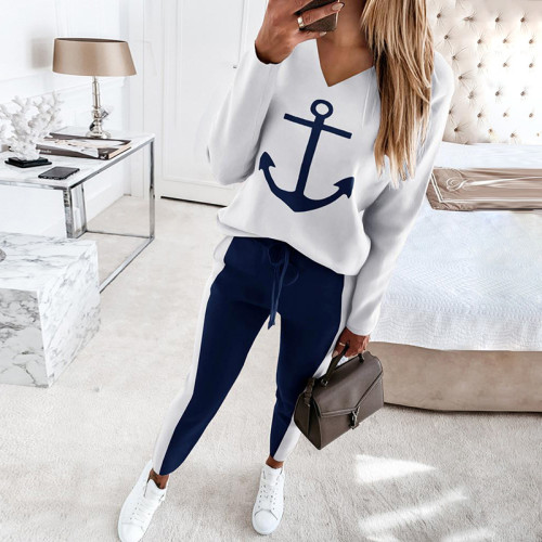White European and American women's anchor printed long-sleeved V-neck fashion casual suit