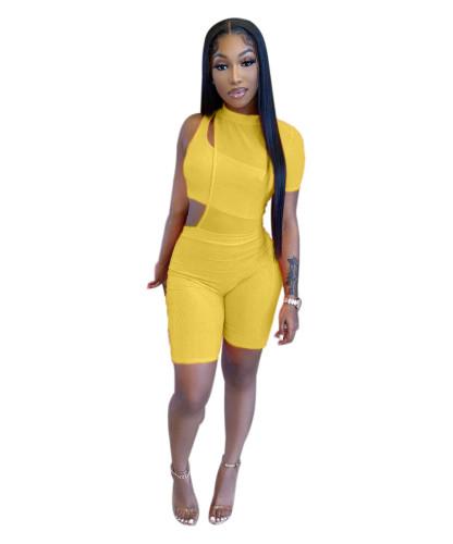 Yellow Women's fashion asymmetric pit strip One-shoulder mesh two-piece suit