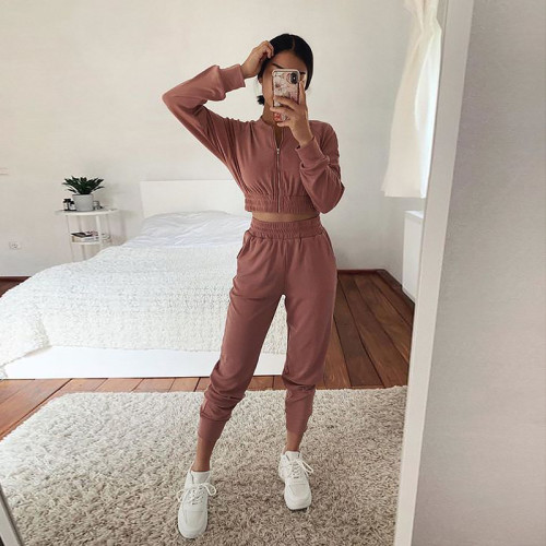 Dark pink European and American long-sleeved zipper casual home service suit women