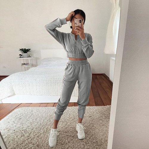 Light grey European and American long-sleeved zipper casual home service suit women