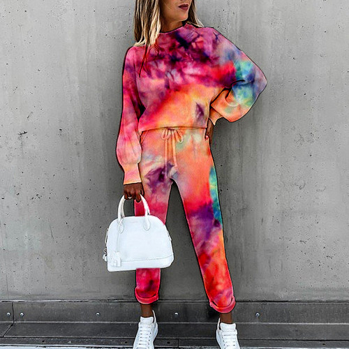 Flower type eight European and American women's tie-dye printing high-neck long-sleeved fashion casual suit