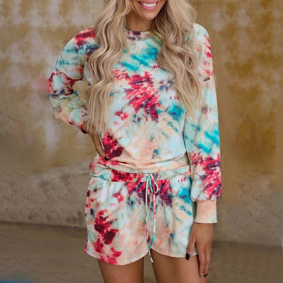 Photo Color Tie-dye home service women's printed long-sleeved casual suit