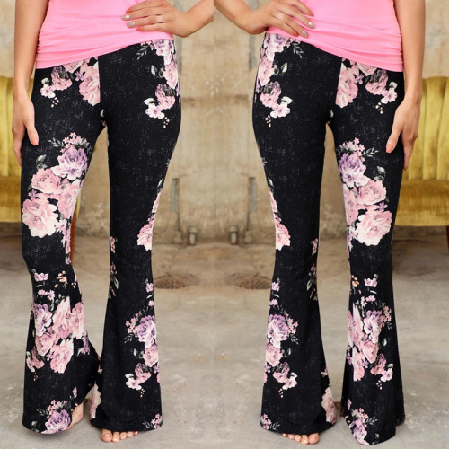 Black European and American women's fashion printed casual short pants trousers