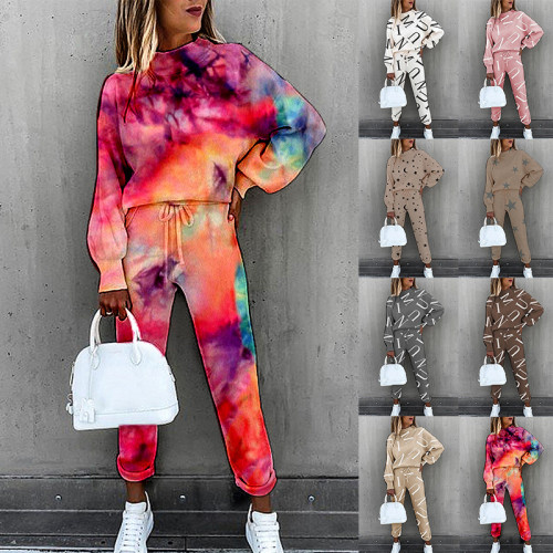 Flower type six European and American women's tie-dye printing high-neck long-sleeved fashion casual suit