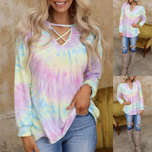 Photo Color Fashion tie-dye printing long-sleeved loose casual top T-shirt women