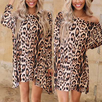 Leopard European and American women's leopard print long-sleeved round neck loose casual dress