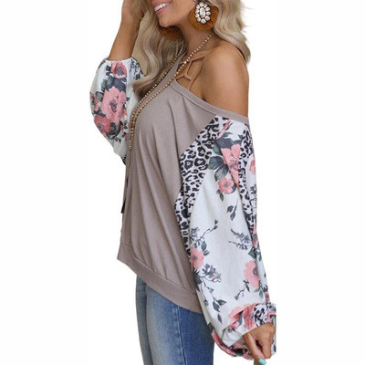 GrayEuropean and American printed long-sleeved round neck stitching casual loose top T-shirt women
