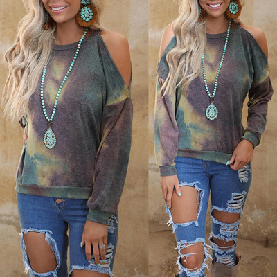 Green tie dye New European and American women's printed long-sleeved round neck off-the-shoulder casual top