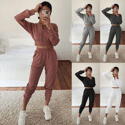 Gray European and American long-sleeved zipper casual home service suit women