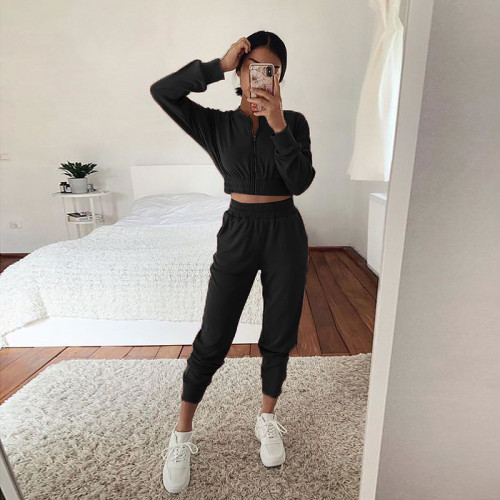 Black European and American long-sleeved zipper casual home service suit women