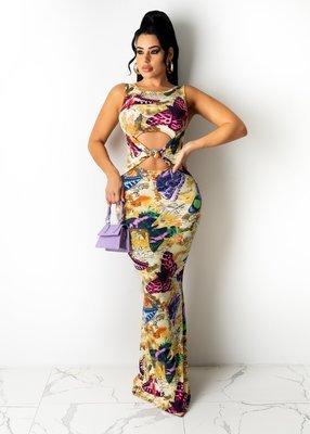 Photo Color Stretch digital print long dress