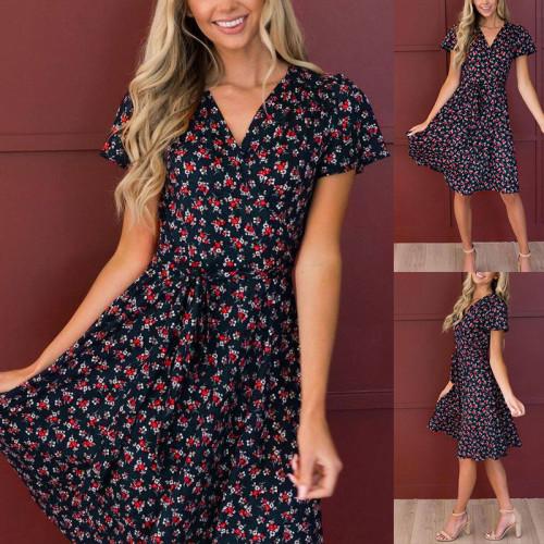Dark blue European and American women's floral short-sleeved V-neck lace-up high-waist dress