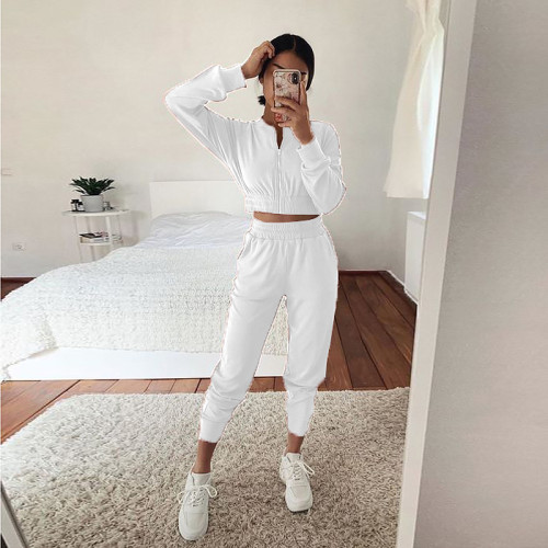 White European and American long-sleeved zipper casual home service suit women