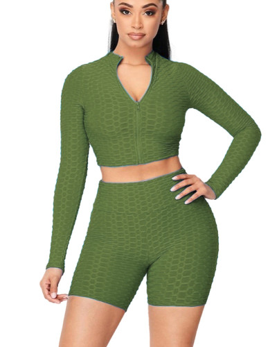Green Women's tight-fitting pineapple pattern solid color long-sleeved leisure yoga sports suit women