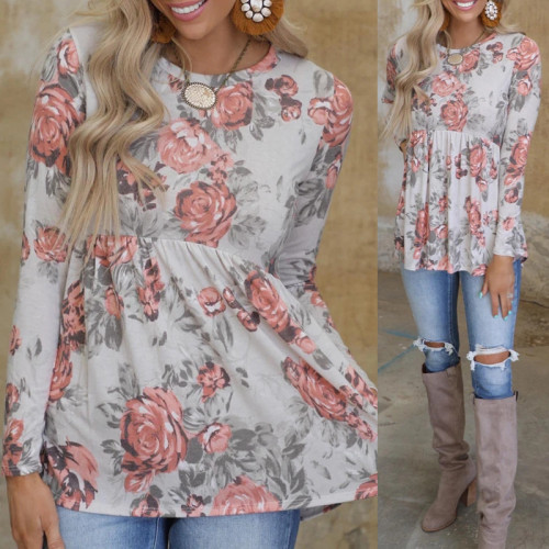 White New style European and American flower print long-sleeved round neck T-shirt ladies top
