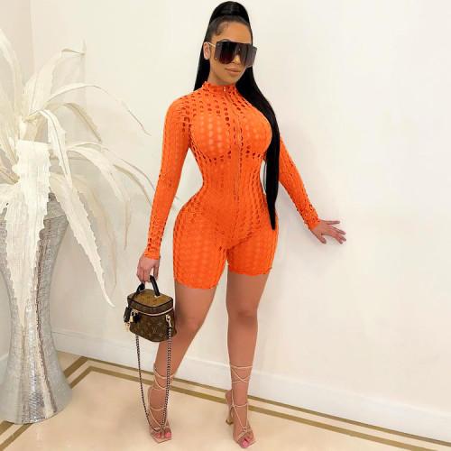 Orange Women's high-elastic mesh slim fit sexy jumpsuit see-through grid