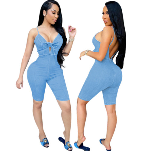 Light blue European and American women's summer high-elastic imitation denim bow tie suspenders five-point pants