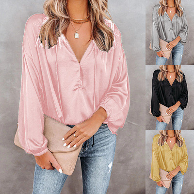 Gray Solid color V-neck flared long-sleeved V-neck casual top ladies shirt