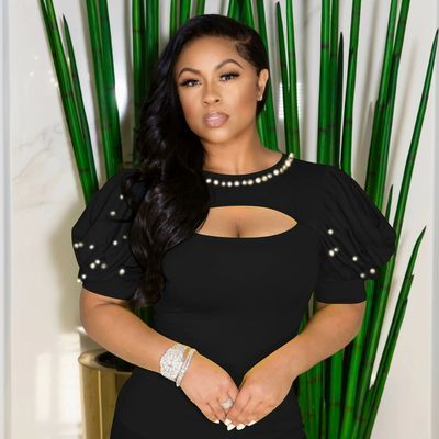 Black Women's Summer New Pearl Puff Sleeve Top High Elastic Short Sleeve T-shirt