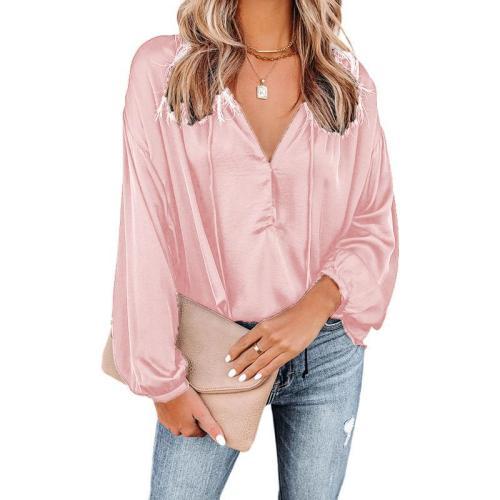 Pink Solid color V-neck flared long-sleeved V-neck casual top ladies shirt