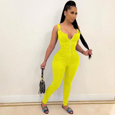 Yellow Women's summer new high elastic imitation denim overalls overalls