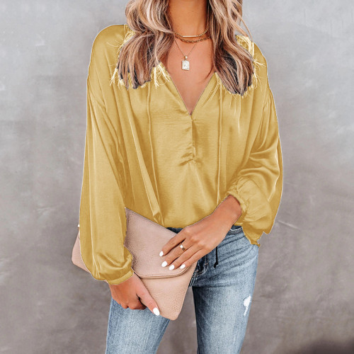 Natural yellow Copy Black Solid color V-neck flared long-sleeved V-neck casual top ladies shirt